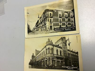 Set of 2 Real Photo Postcards of Puebla, Mexico. The Market and Federal Offices.