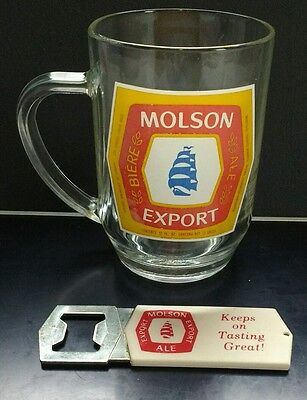 Molson Export Ale Glass Beer Mug Stein & Vintage Bottle Opener