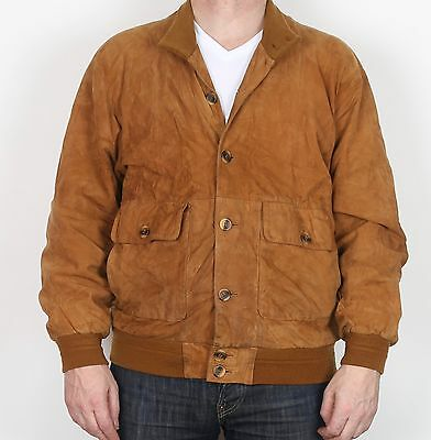 """Suede Bomber Jacket Coat Medium Large 42"""" Approx Brown (9CG) 90's"""