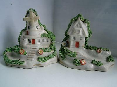 Victorian Staffordshire pottery figures of windmill and house C1880