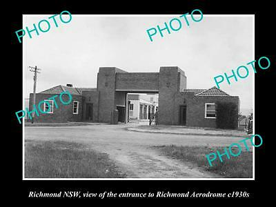 OLD LARGE HISTORICAL PHOTO OF RICHMOND NSW, ENTRANCE TO THE AERODROME c1930s
