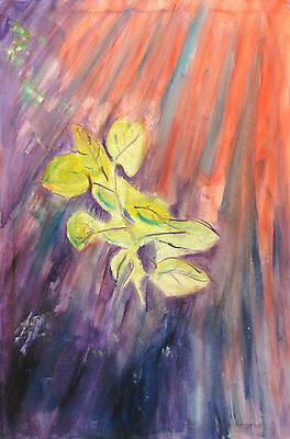 LEAVES LARGE ORIGINAL OIL PAINTING Abstract Wall Art on Canvas Picture Modern