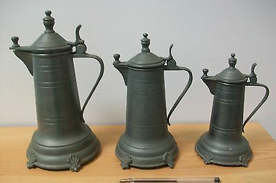 3 X Vintage French Pewter Tankards with flip lids #23 medieval primative rustic