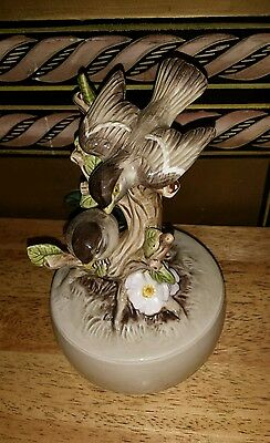 Vintage 1979 Otagiri Birds Music Box Handpainted SING Mint