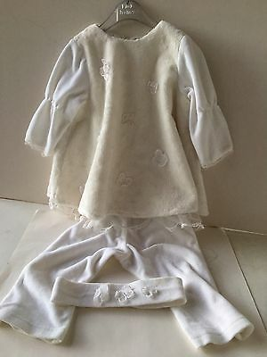 WHITE GIRLS VELOUR SUIT & HEADBAND WITH BUTTERFLIES BY LITTLE DARLINGS 12mths