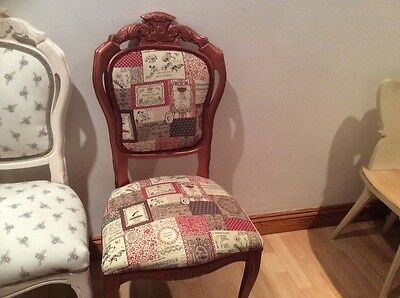 French Inspired Chair, Upholstered In A Lovely Patchwork Material