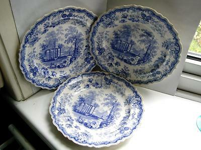 Three Antique Staffordshire Rogers pottery Blue white plates titled Athens C1840