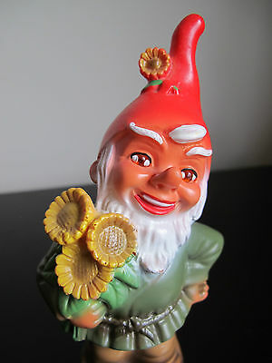 Cute German Gnome Holding A Bouquet Of Flowers Made Germany