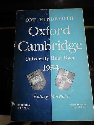 One Hundredth Oxford Cambridge University Boat Race 1954 Official Souvenir