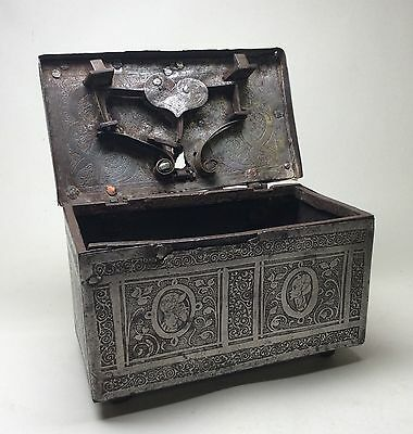 Rare Mid to Late 16th Century Nuremberg Casket Eisenkassette Strongbox 17th 15th