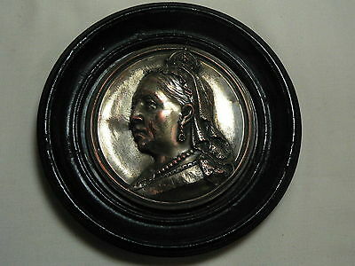 Antique Framed Queen Victoria Miniature in Silver Plated Copper