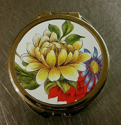 Lovely Round Floral Pill Box/mirro Compact - 3 Sections