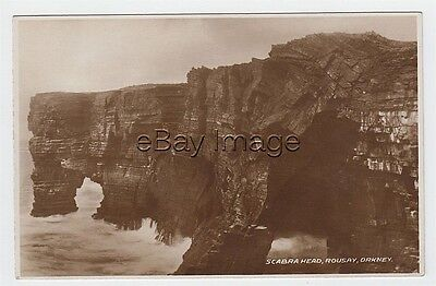 Scabra Head cliffs and sea - Rousay (Leonard's 'Orkney' Series) RP postcard