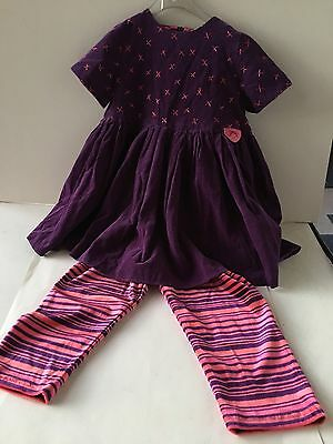 LITTLE DARLINGS 3-4yrs, PURPLE WITH PINK EMBELLISHED DRESS IN CORDUROY