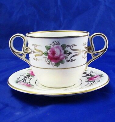 Antique Hand Painted Copeland China Bouillon Cup & Saucer T Goode & Co London