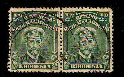 Rhodesia 1913 Admiral Issue Fine Used halfpenny Green Pair.