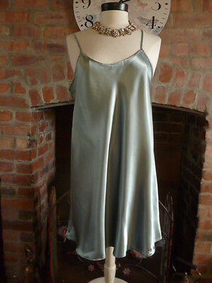 Vintage Style Ultra Femme Green Liquid Satin Nightdress Slip Size 16 Bust 38""