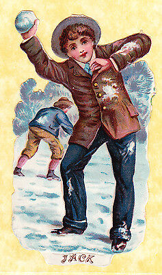 Victorian Scrap,jack Throwing Snowballs, Approx 11 X 6 Cm