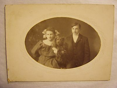 Rare Antique B&w Cabinet Photo Of Kids With Long Eared Dog Poodle? Cloquet Mn