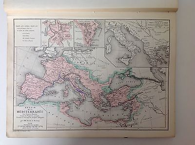 The Mediterranean, Antique Map,1882 Atlas Ancient Roman Geography SPM2