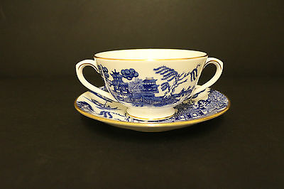 Coalport Blue And White Soup Cup And Saucer Willow