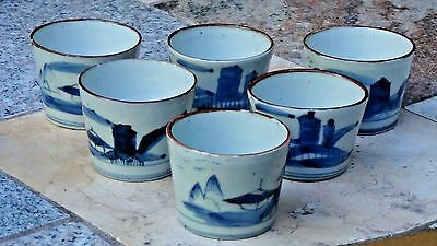 Set Of 6 Antique Japanese Edo Period Blue&white Porcelain Glazed Tea Cups
