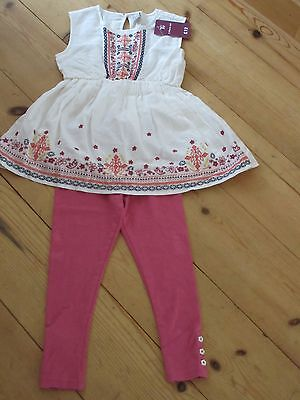 NEW GIRLS TU SAINSBURYS OUTFIT AGE 5 embroidered lined dress & leggings set