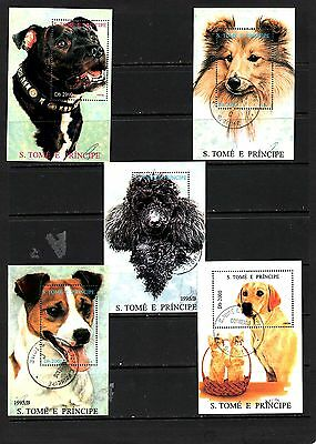 Thematics 5 Miniature Sheets Collection 44 Dogs
