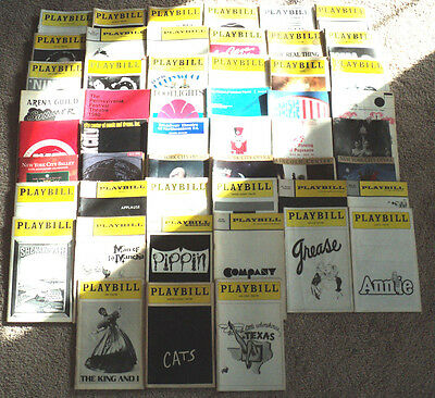 Lot of 33 Vintage Playbills Stagebills Broadway Musical Grease Cats Pippin Annie