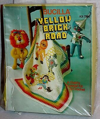 BUCILLA Vintage 'Yellow Brick Road' Wizard Of Oz Child Coverlet Crochet Kit New!