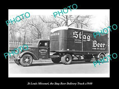OLD LARGE HISTORIC PHOTO OF St LOUIS MISSOURI, THE STAG BEER DELIVERY TRUCK 1940