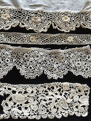 Antique Irish Lace Samples Salvage Collect Dolls Flounce Costume Projects