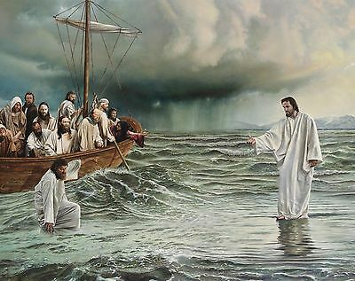 Jesus Walking On Water Religion Christianty 8X10 Glossy Photo Picture