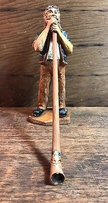 Vintage Hand Carved Solid Wood Swiss Man Playing Alphorn Figurine