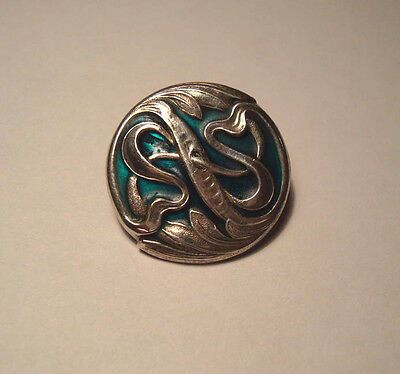Art Nouveau Silver & Enamel Button Hallmarked With Makers Mark
