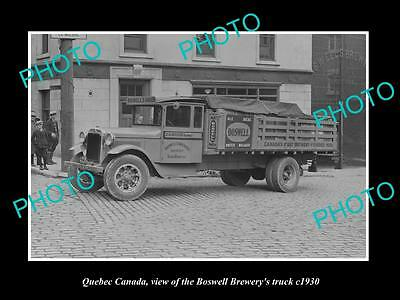 OLD LARGE HISTORIC PHOTO OF QUEBEC CANADA, THE BOSWELL BREWERY TRUCK c1930