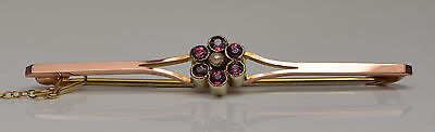 Vintage 9ct Rose Gold Ruby & Pearl Brooch / Pin