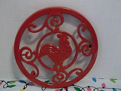 """Better Homes And Gardens ~Trivet~""""red Rooster"""" ~Cast Iron~8"""" Round"""