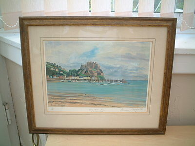 Framed Signed Print of Gorey Harbour , Jersey by the Late Duchess of Norfolk.