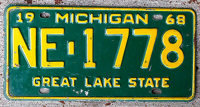 1968 Yellow on Green Michigan License Plate