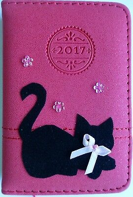 2017 Diary Soft red/pink.Black cat +bow embellished