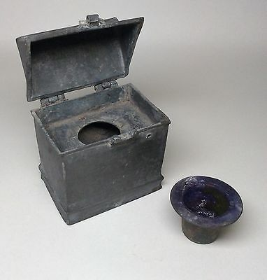 Extremely Rare 15th 16th Century Pewter Inkwell. Church Religious Reliquary.