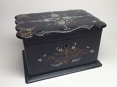 Rare 19th Century Victorian Ebonised, Mother of Pearl Tea Caddy. Box Casket 18th