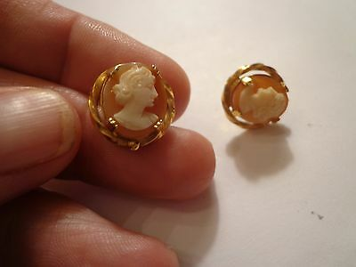 Vintage Art Deco Cameo Earrings Or Tie Tacs