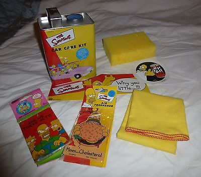 THE SIMPSONS Car Care Kit official Tin box sticker air fresheners tax disc etc