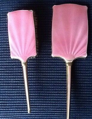 Vintage Art Deco  Pink Enamelled Hand Brush And Mirror