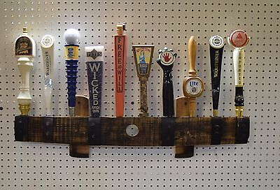 oak whiskey barrel stave 10 beer tap handle wall display,  with hole and rivets