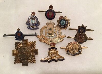 Lot of 10Authentic WWII UK Pins:RMP, RAOC &Royal Army Services Corps & More