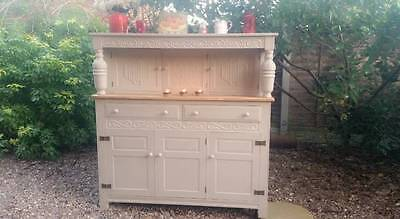Shabby Chic_Solid Oak_Court Cupboard_Dresser_Cabinet_Victorian_French_Farmhouse