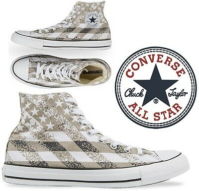 CONVERSE All Star Chuck Taylor Hi Washed Flag Print Shoe White US Mens 10 BR NEW